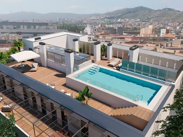 Vista exterior aerea terraza con piscina Centre de la Vila Santa Coloma