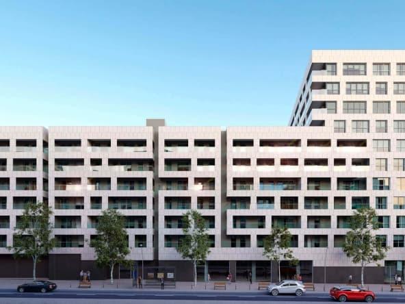 Vista frontal fachada promoción 104 viviendas Nova Sagrega