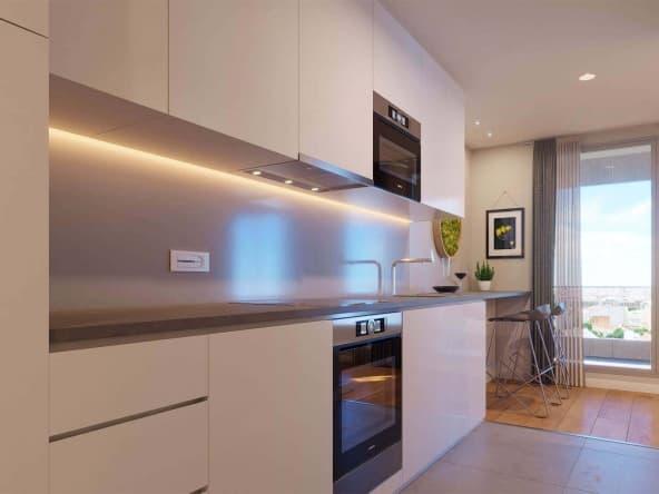 Vista interior cocina espaciosa viviendas Nova Sagrega