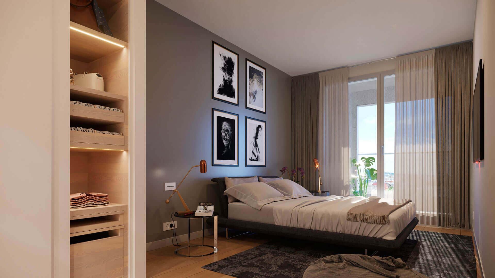 Vista interior dormitorio amplio viviendas Nova Sagrega