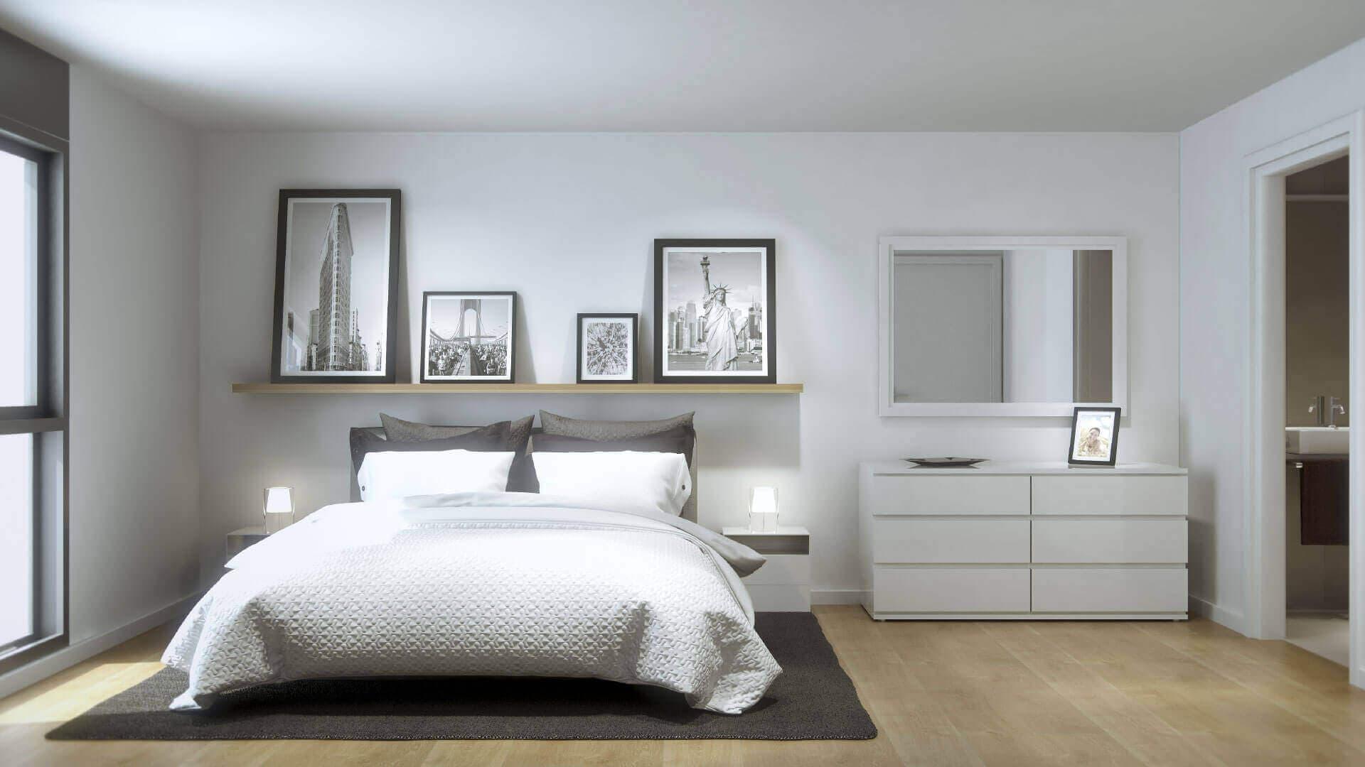 Vista interior dormitorio luminoso y espacioso Odeón Residencial
