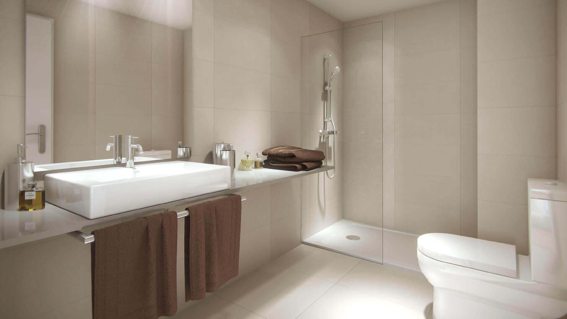 Vista interior lavabo amplio con excelentes calidades Odeón Residencial